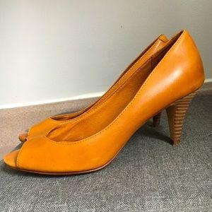 Aldo Electra Leather Peep-Toe Heels Size US 8